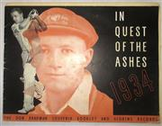 Sale 8460C - Lot 4 - In Quest of the Ashes 1934, The Don Bradman Souvenir Booklet and Scoring Records with compliments of Wrigley's, Booklet includes sco...