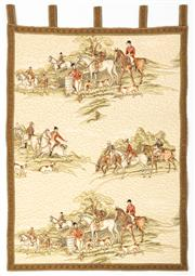 Sale 8599A - Lot 40 - A quilted wall hanging depicting hunting scenes, H 93 x W 63cm.