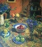 Sale 8752A - Lot 5002 - Margaret Olley (1923 - 2011) - Yellow Tablecloth with Cornflowers, 2007 94 x 79cm