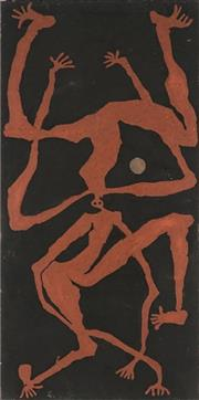 Sale 8786 - Lot 597 - Hughie Ahwon (1965 - ) - Dancers and the Moon II 77 x 38cm (stretched and ready to hang)