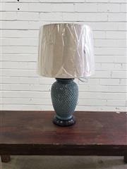 Sale 9080 - Lot 1062 - Jade coloured peirced ceramic table lamps
