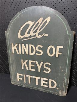 Sale 9092 - Lot 1065 - Vintage timber KEYS FITTED hand painted sign (h:76 x w:59cm)