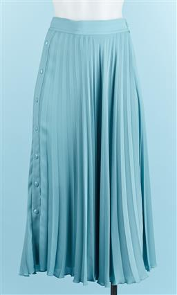 Sale 9091F - Lot 77 - A BLUE OROTON PLEATED SKIRT, with snap buttons midi length size 8