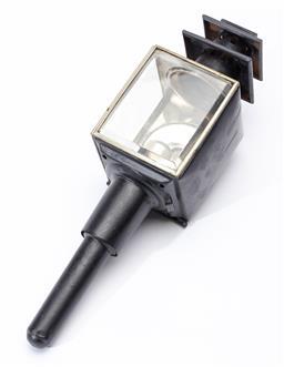 Sale 9130E - Lot 97 - A black painted carriage lantern, Length 40cm
