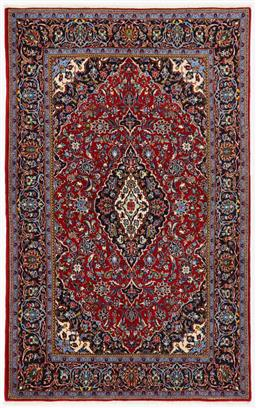Sale 9123J - Lot 75C - Classic Kork wool fine Persian Kashan rug in red and navy tones. 210 x 135cm