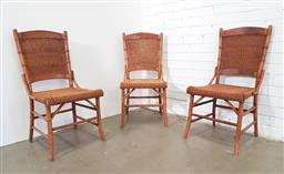Sale 9154 - Lot 1091 - Set of 3 timber frame & cane chairs (h91 x w45 x d50cm)