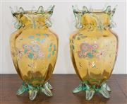 Sale 8338A - Lot 60 - A pair of French antique glass mantle vases in amber and green, with enamel floral decoration, H 30cm