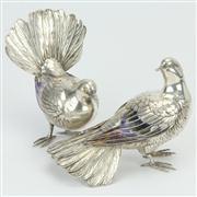 Sale 8372 - Lot 97 - Meiji Japanese Silver Pair of Fan Tail Dove Figures