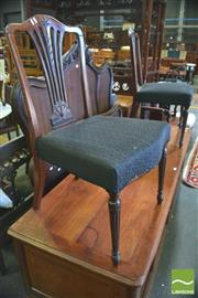 Sale 8390 - Lot 1085 - Pair of George III Mahogany Hepplewhite Style Chairs, the pierced splat with husk & anthemion, black upholstered seats & turned flut...