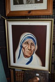 Sale 8410T - Lot 2084 - L. Lobban - Mother Teresa, 1977, acrylic on canvas, 52 x 44cm, signed and dated lower right