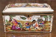 Sale 8435A - Lot 44 - A Continental porcelain rectangular trinket box with hunting scene and brass hinges, L 15.5cm
