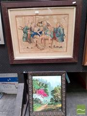 Sale 8478 - Lot 2006 - Framed with Glass Watercolour Surgery unsigned with Framed Painting on Board Oriental Scene signed LR (2)