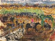 Sale 8575 - Lot 526 - Hugh Sawrey (1919 - 1999) - Outback Range Scene 40.5 x 53.5cm