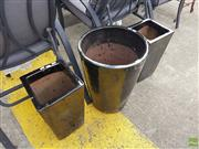 Sale 8601 - Lot 1233 - Three Glazed Ceramic Planters inc Pair and Another