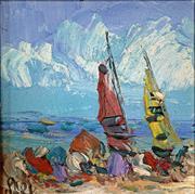 Sale 8756A - Lot 5007 - Kevin Charles Pro Hart (1928 - 2006) - Sailing 13.5 x 13.5cm
