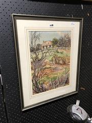 Sale 8865 - Lot 2082 - Jeanette Stedman, Goldminers Old Cottage Hillend watercolour with ink, frame size - 53 x 43cm, signed lower right