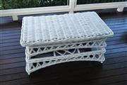 Sale 8858H - Lot 85 - White Cane Coffee Table, H 50 x L 105 x D 59 cm -