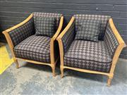 Sale 9056 - Lot 1085 - Pair of Biedemeier Style Tub Chairs (h:73 x w:72 x d:50cm)
