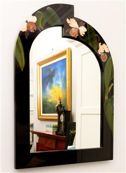 Sale 9256H - Lot 87 - A Chinese lacquered mirror hand painted with orchids, H 105 cm x W 76cm, ex Fortune Art & Furniture Ltd, Hong Kong.