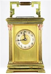 Sale 8402W - Lot 76 - A LARGE STRIKING BRASS CARRIAGE STYLE CLOCK RETAILED BY HARDY BROS; case signed Hardy Bros Sydney & Brisbane of customary form with...