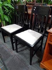 Sale 8769 - Lot 1098 - Set of Six Timber Chairs with Cushion Seat