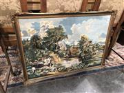 Sale 8822 - Lot 1819 - Gilt Framed Tapestry Depicting Lake Scene