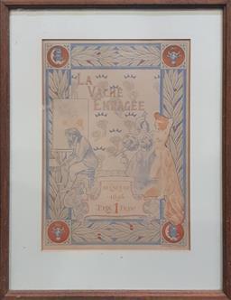 Sale 9053 - Lot 2024 - Auguste Roedel (1859-1900) - La Vache Enragee,1896. 55 x 42 cm