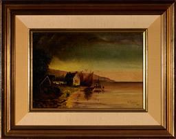 Sale 9099A - Lot 5094 - H Calver (Early C20th) - Lake Scene, 1904 20 x 31.5 cm (frame: 40 x 50 x 5 cm)