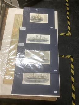 Sale 9111 - Lot 2075 - A group of four handcoloured maritime engravings, mounted/ unframed