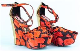 Sale 9092F - Lot 63 - A PAIR OF BETSEY JOHNSON ROSE DECORATED WEDGES; with gold back and leopard print sole. Fabric outer Size 38-39