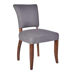 Sale 9250T - Lot 63 - A set of 10 grey linen dining chairs with dark stained oakwood legs. Height 91cm x Width 52cm x Depth 62cm