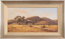 Sale 9256H - Lot 17 - Brian Baigent - Landscape with Emus signed lower left