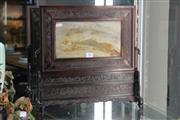 Sale 8308 - Lot 10 - Finely Carved Chinese Scholars Screen Possibly Zitan w Marble Panel