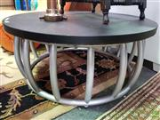 Sale 8589 - Lot 1038 - Silver Painted Bamboo base Coffee Table