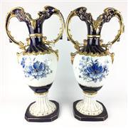 Sale 8607R - Lot 9 - Pair of Royal Dux Porcelain Double Handled Urns Depicting Flowers (H: 64cm)