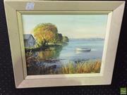 Sale 8648B - Lot 2044 - John Emmett Autumn Evening - Lake Rotorua, New Zealand, oil on canvas board, 24 x 30cm, signed lower right