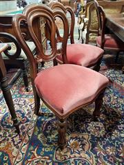 Sale 8728 - Lot 1039 - Set of Six Victorian Mahogany Admiralty Back Chairs, with red velvet seats and turned legs