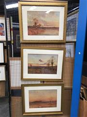 Sale 8726 - Lot 2047 - Group of Three English Country Scene Watercolours by John Reginald Goodman 60 x 74cm (frame size)