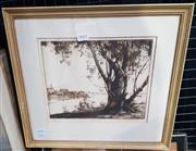 Sale 9019 - Lot 2018 - Douglas Pratt  Darling Point drypoint etching ed. 9/50 36. x 39.5cm (frame) signed
