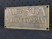 Sale 9092 - Lot 1011 - Pressed brass MESTA MACHINE COMPANY plaque (h:10 x w:20cm)