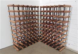 Sale 9154 - Lot 1080 - Pair of timber & metal wine racks (h90 x w60 x d23cm)