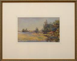 Sale 9150J - Lot 69 - HANS HEYSEN (1877 - 1968) View across water watercolour 17 x 29 cm signed lower left