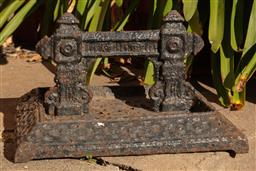 Sale 9190H - Lot 4 - An antique cast iron Victorian boot scraper C: 1890 in original condition. Width 34cm