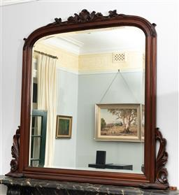 Sale 9256H - Lot 15 - An impressive carved timber over mantle bevel edged mirror with Rococo surmount, H 142cm x W 148cm