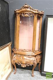 Sale 8465 - Lot 1017 - Heavily Carved Timber Display Cabinet with Bow Glass Panel Door & Two Drawers Below