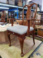 Sale 8601 - Lot 1117 - Set of Eight Timber Dining Chairs with Fabric Seats