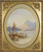 Sale 8722A - Lot 5097 - Edwin Earp (1851 - 1945) - Scottish Highalnd Lake Scene with Fisherman 40 x 33cm