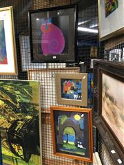 Sale 8752 - Lot 2056 - 3 Works: 2 Wachtmeister Prints of Cats & L.Busch Cat Print