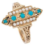 Sale 8954 - Lot 348 - A 9CT GOLD EDWARDIAN STYLE STONE SET RING; featuring 5 cabochon turquoise adjacent to 2 rows of seed pearls, size O.