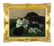 Sale 9080J - Lot 89 - Henriette Ronner-Knip 1821 - 1909 Dutch - Cats at Play 44 x 55 cm